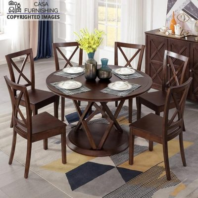 Wooden Dining Table and Chairs Set 6 Seater