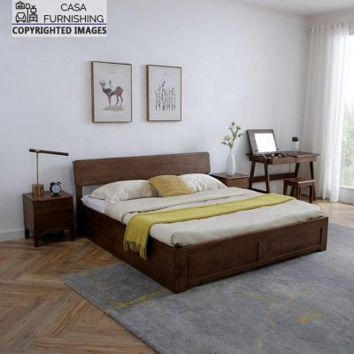 Simple modern wooden bed with storage design made up of sheesham wood