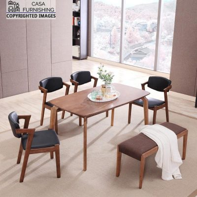 Modern Wooden Dining table set with bench Design online