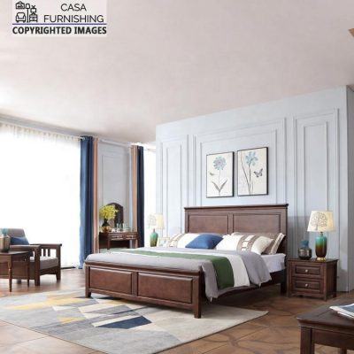 Wooden Double bed design with two side Table made up of solid sheesham wood