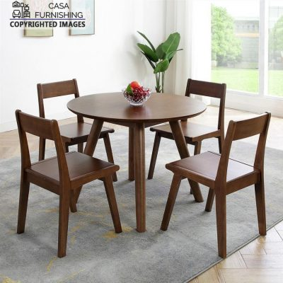Round Dining Table and Chairs 4 Seater