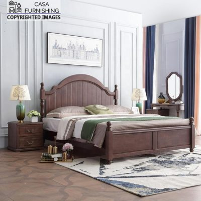Simple Double Bed Design in Wood