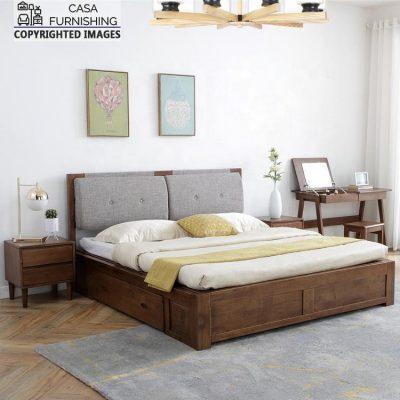 Wooden Upholstered Storage Bed Design