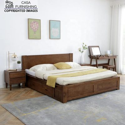 Wooden Bed with Drawers Design
