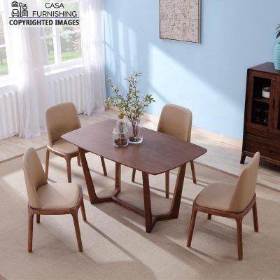 Modern Table and Bench Dining Table Set