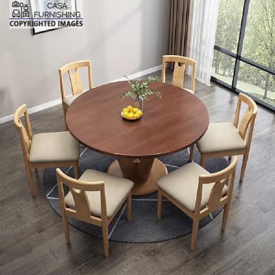 Modern Round Wooden Dining Table Set 6 seater